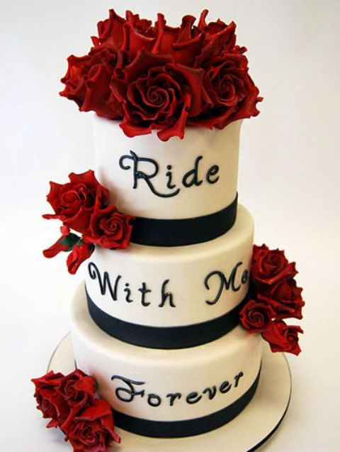 red and black themed wedding cakes 20 cool motorcycle themed wedding ideas weddingomania 19065