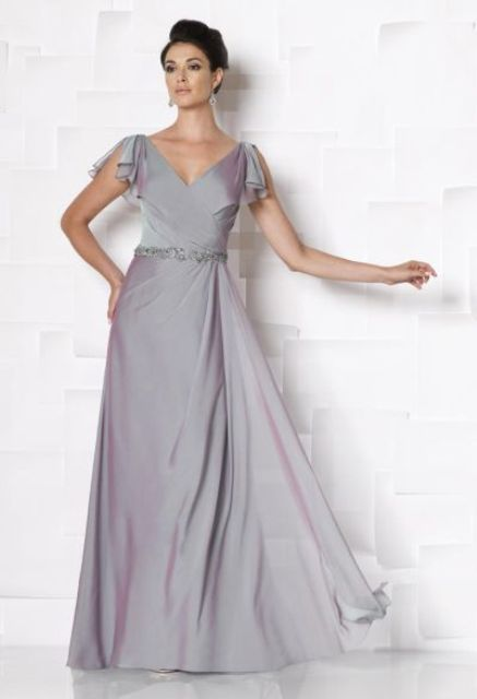 Gray silk maxi dress with gorgeous belt