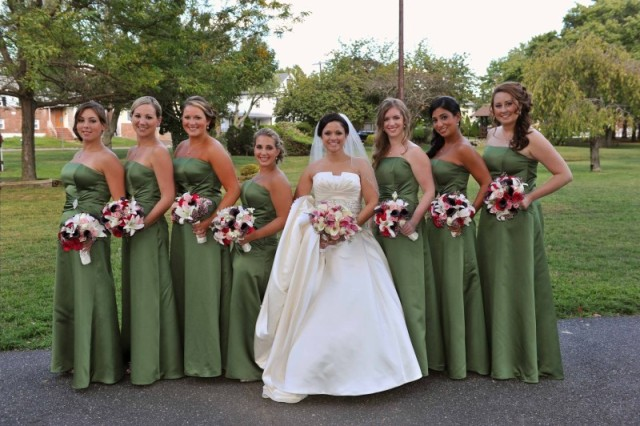 Green satin maxi dresses