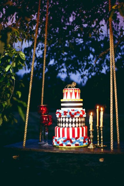 Incredible cake for circus themed wedding