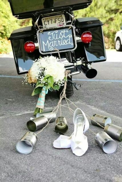 'Just Married' sign for motorcycle