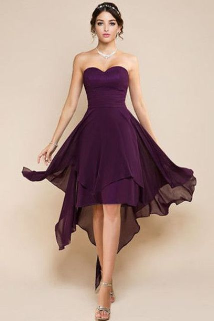 Marsala knee-length dress with heels
