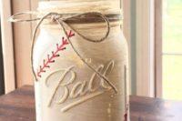 Mason jar for baseball themed wedding decor