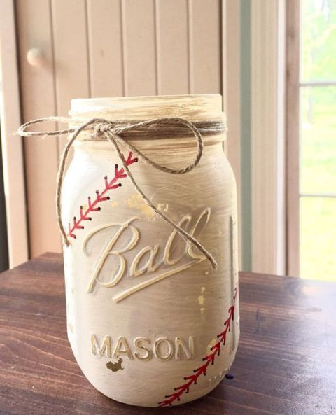 Mason jar for baseball themed wedding decor