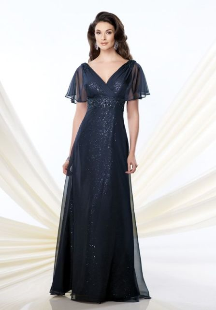 Midnight blue glitter maxi dress