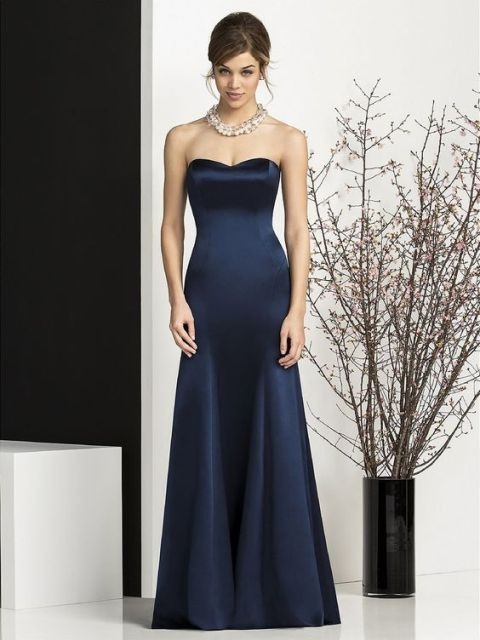 22 chic strapless bridesmaid dress ideas for fall weddings for Midnight blue wedding dress