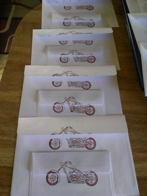 Motorcycle stamp for invitations' envelopes