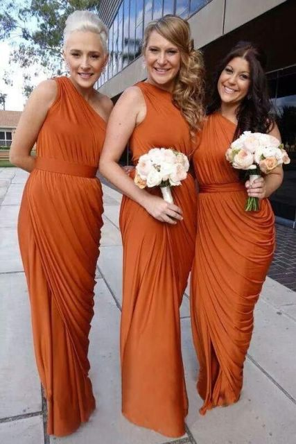 One shoulder draped maxi dresses