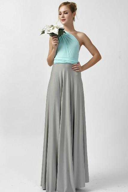 One shoulder maxi length dress