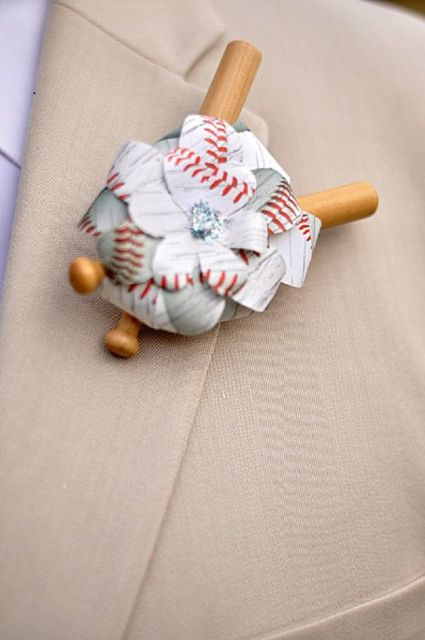Origami groom and groomsmen boutonniere