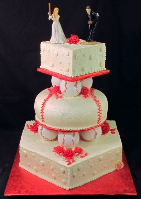 Original three tiered cake with baseball decor