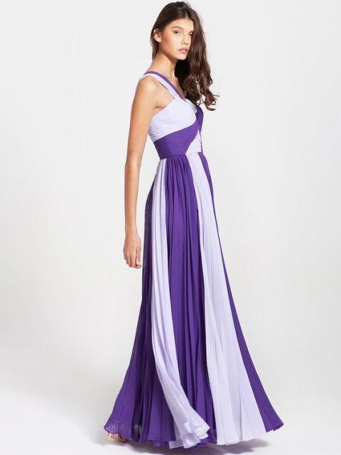 20 unique two color bridesmaid dress ideas weddingomania for Purple maxi dresses for weddings