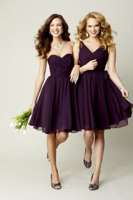 Purple chiffon dress with purple shoes