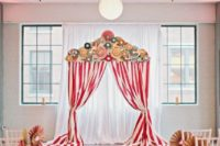 Red and white color arch for the ceremony