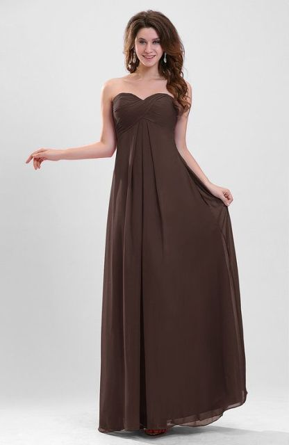 Strapless maxi chiffon dress