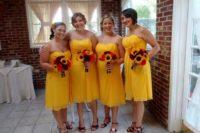 Strapless midi chiffon dresses with marsala shoes