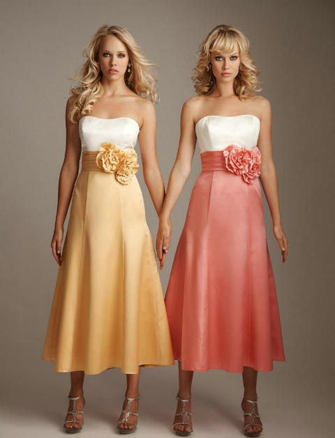 Strapless midi dresses with floral belt