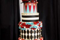 Stylish four tiered wedding cake