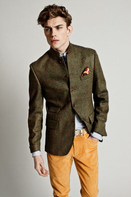 Stylish jacket with yellow pants