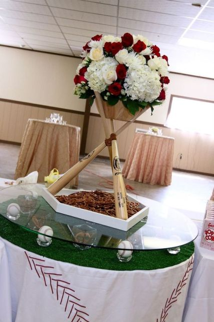 Table centerpiece with bats and flowers