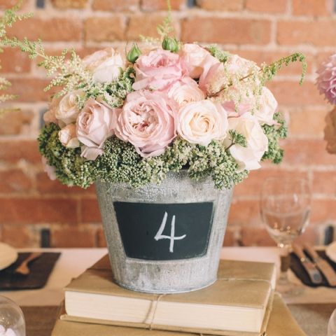 Table number with light pink roses and chalkboard