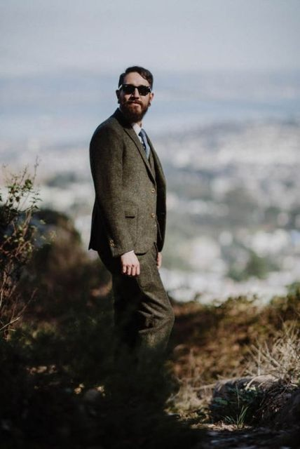 Tweed suit for rustic wedding