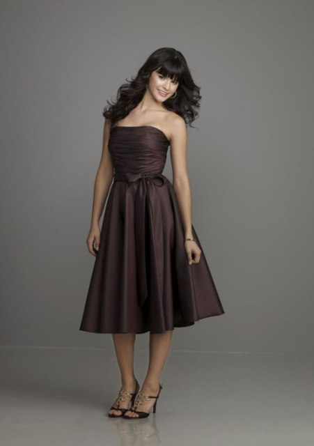 Unique strapless midi dress with bow