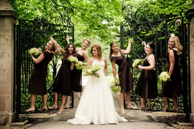 Various styled bridesmaid gowns
