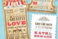 Vintage circus styled invitation ideas