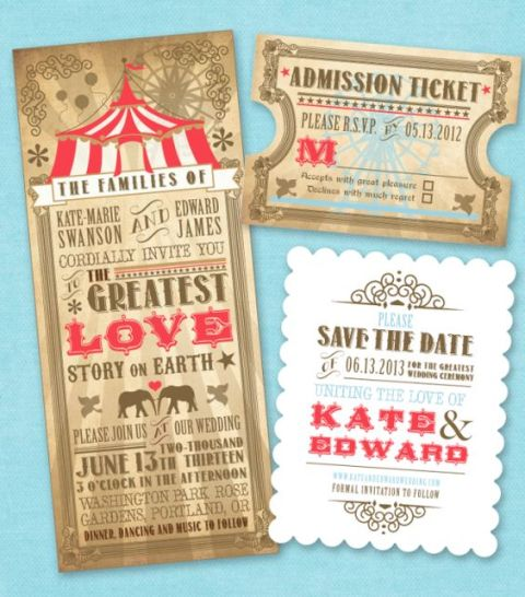 Vintage circus styled invitation ideas