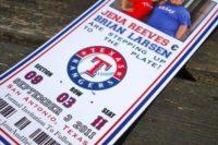 Wedding invitation as baseball ticket