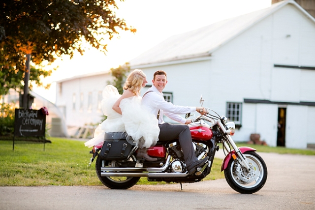 Wedding photo session with red motorcycle
