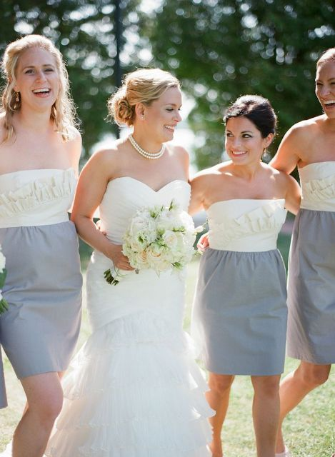White and gray strapless ruffle dresses