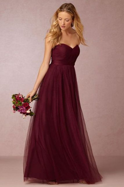 Wonderful marsala chiffon maxi dress