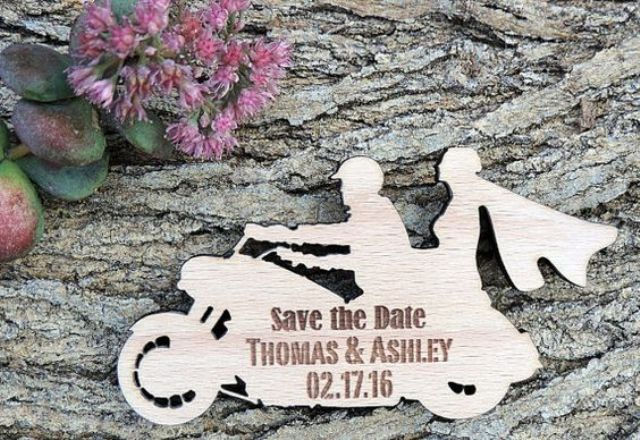 Wooden save the date card idea