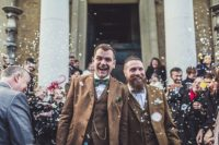 stylish winter gay wedding with grooms in tweed 1
