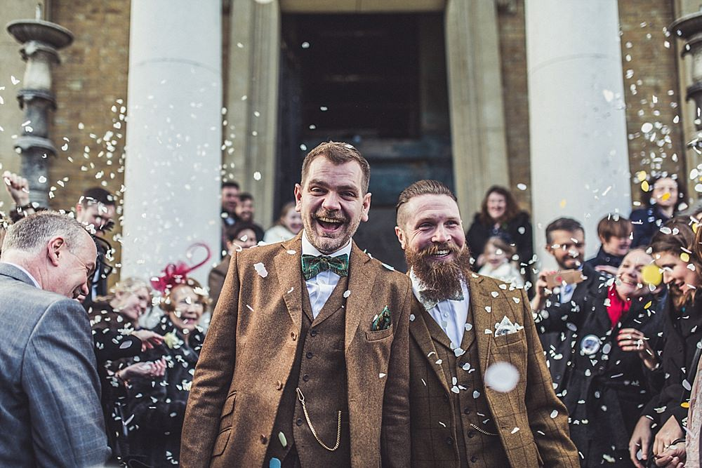 Picture Of stylish winter gay wedding with grooms in tweed 1