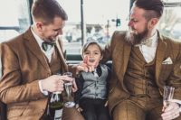 stylish winter gay wedding with grooms in tweed 11