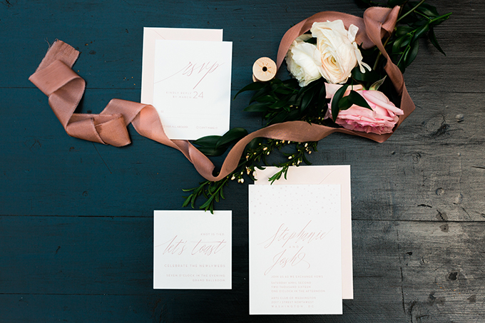 Dusty pink, mint and rose were the main colors for this wedding shoot