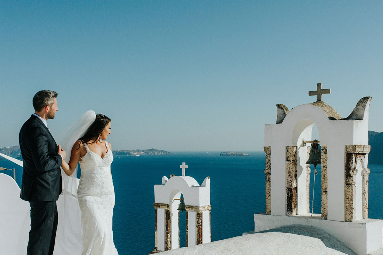 Santorini is one of the most popular locations for destination weddings, and it was chosen for this wedding, too
