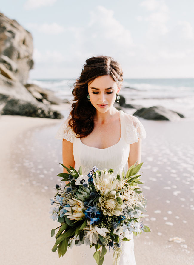 Sea glass became a source of inspiration for this wedding shoot