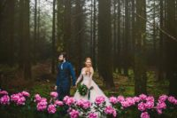 01 This moody forest wedding shoot was sprinkled with pink peonies