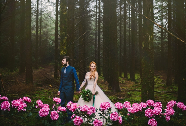 This moody forest wedding shoot was sprinkled with pink peonies