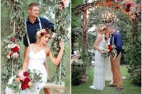 02 Adorable lush florals were used for wedding decor – an arch, swing, tables