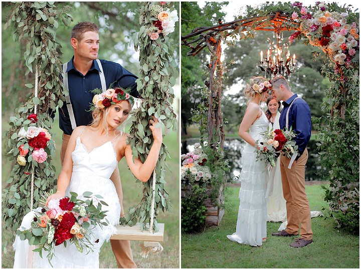 Adorable lush florals were used for wedding decor - an arch, swing, tables