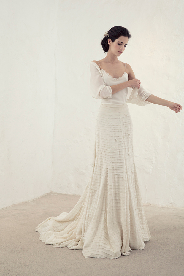 Boho-inspired bridal separate with a spaghetti strap top and a pleated skirt