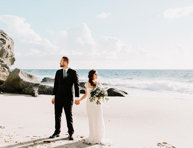 It's a coastal wedding shoot with romantic boho touches