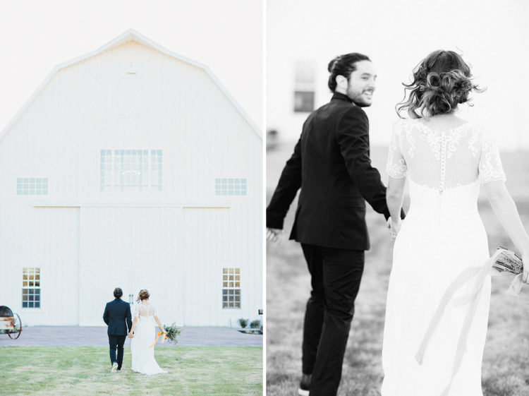 The shoot took place in a vintage white barn