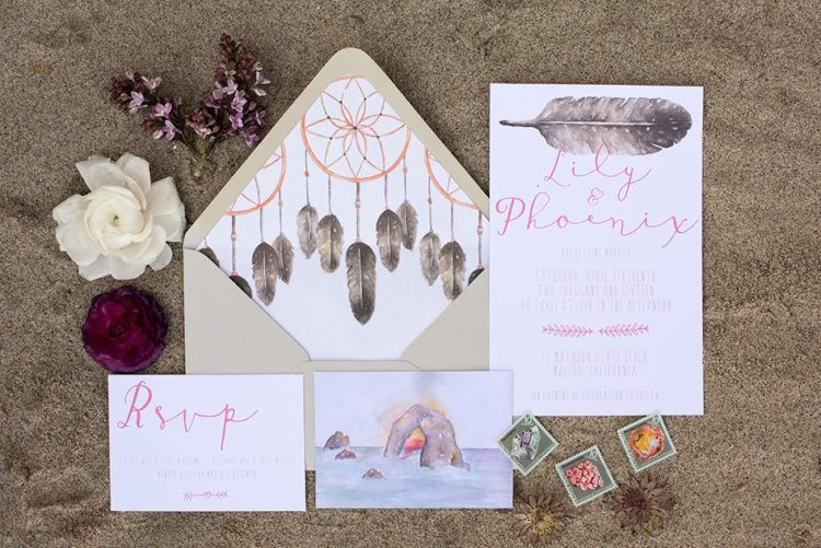 The wedding stationery was made specially for this shoot and was inspired by the coastal landscape of this place
