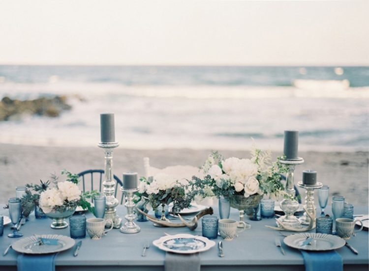 all-blue winter wedding table setting with grey touches